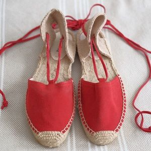 Never-worn red suede flat espadrilles